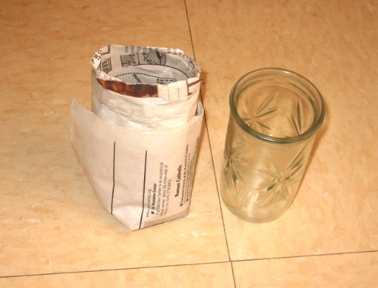 paper planting cup with glass jelly jar